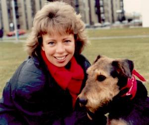 Лахудра со своей хозяйкой Карин Лундл во время визита в Монреаль, 1986