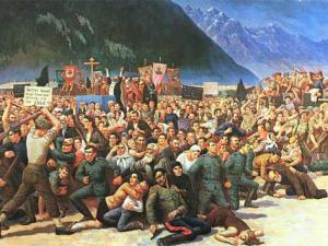 Вsдача казаков в Лиенце. Картина Сергея Королькова