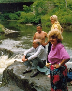 Булат и Фазиль с женами на водопаде Собачьей речки